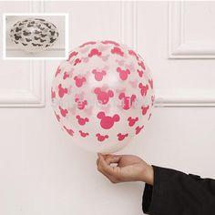 50 pcs dos desenhos animados mickey cabeça 12 polegadas limpar balões de látex de cor balck vermelho graduação festa de casamento do aniversário dos miúdos balão transparente