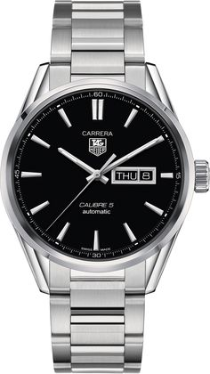CARRERA Calibre 5 Day-Date Automatic Watch 41 mm Black Steel bracelet | TAG Heuer