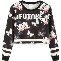 SheIn(sheinside) Contrast Trim Floral Print Crop Sweatshirt