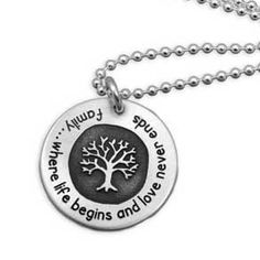 Whole Soul Jewelry - Family Tree Necklace Etched Quote, $64.00 (http://www.wholesouljewelry.com/family-tree-necklace-etched-quote/)