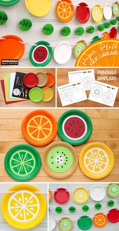 DIY Summer Fruit Garland – FREE Template Perk up a party with this sweet string of colorful fruits. Transform solid paper plates into refreshing slices of fruit with our free template. Kids Crafts, Summer Crafts, Preschool Crafts, Preschool Food, Paper Plate Crafts, Paper Plates, Cadeau Baby Shower, Paper Fruit, Fruit Art
