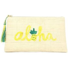 Kayu Aloha Embroidered Straw Clutch ($95) ❤ liked on Polyvore featuring bags, handbags, clutches, beige, embroidery handbags, beige purse, embroidered handbags, straw clutches and embroidered purse