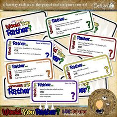Would You Rather - LDS Edition | Printable Card Game by DeDe Smith | Have you ever played Would You Rather? Now, there's an LDS Version, full of fun gospel and scripture prompts! | It's perfect for Family Home Evenings, Primary and Ward Parties, groups, and families! It's a fun way to discuss the gospel and scripture stories!