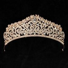 Rose Gold Crystal Wedding Bridal Crown Rhinestone Party Pageant Tiara Hairband