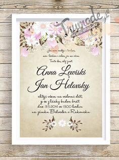 Máslové svadobné oznámenia-  tulipany, margaretky a gypsomilky