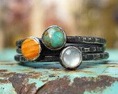 Tres Stacking Rings...    Turquoise - Spiny Oyster - Mother of Pearl