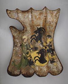 German Tournament Shield (Targe), c. 1450. Made with wood, leather, linen, gesso, polychromy, and silver
