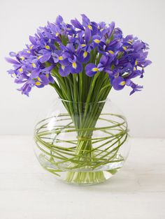 The flower experts at HGTV.com show how to arrange a bowl of purple irises to liven up any room.