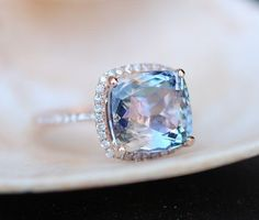 Tanzanite Ring Rose Gold Engagement Ring 5.3ct Lavender Mint Tanzanite Cushion halo engagement ring 14k rose gold.