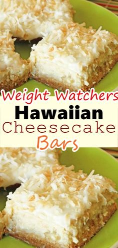 Drop everything and make these Hawaiian Cheesecake Bars as soon as you can, but be warned, you will have to make sure there are people around to share with or you WILL eat the entire pan. Coconut Recipes, Healthy Recipes, Skinny Recipes, Ww Recipes, Cooking Recipes, Recipies, Coconut Bars, Ww Desserts, Weight Watchers Desserts