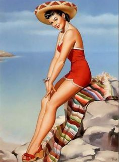 Pearl Frush Pinup on the beach red swim suit sombrero Mexico