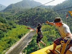 the country's steepest bungee jump fall in Rishikesh, Himalayan, Heaven, India, River, Country, City, Fall, Places
