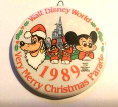 Walt Disney World 1989 MERRY CHRISTMAS PARADE Ornament Pendant Mickey Pluto