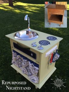 Learn how to take an old nightstand and turn it into a child's play kitchenette using items found entirely at thrift stores.  Even the curtain & potholder are sewn from a pillowcase!  Then check out other step-by-step blogs and video tutorials at muralsbymarcy.com. Thrift Stores, Kitchenette, Video Tutorials, Grandchildren, Kids Playing, Murals, Pot Holders, Nightstand, Thrifting