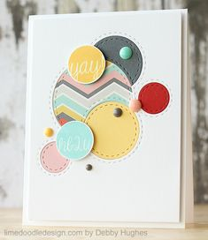 handmade card from limedoodleLIDyay ... die cut circle design ... new dies with stitch lines inside and outside the circle ... luv how they are inset and overlapped on the face layer ... randomly placed cute enamel dots ... great color combo ... luv Debby's cards!!!