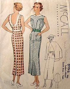 McCall 8192 | ca. 1935 Ladies' & Misses' Sports Dress & Cape