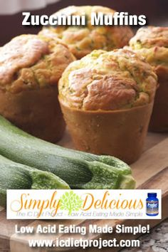 Zucchini Muffins from the IC Diet Project (aka Simply Delicious: Low Acid Eating Made Simple) made possible by Prelief and the Interstitial Cystitis Network!