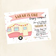 Happy Camper Invitation Glamping Party Theme Birthday