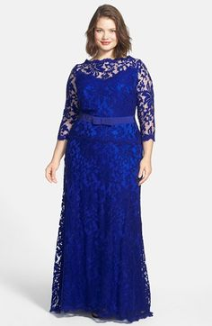 Tadashi Shoji Embroidered Lace Gown (Plus Size) Vestidos Plus Size, Plus Size Dresses, Blue Dresses, Formal Dresses, Blouse Dress, Lace Dress, Curvy Fashion, Plus Size Fashion, Marine Uniform