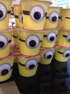 Minions.......yellow pudding cup, glue, large wiggly eye, black strip: (blk tape/paper/felt/etc)