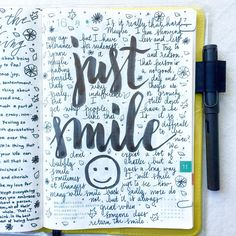 Just smile  #journal #artjournal #hobonichi #planner #diary #notebook #filofax #mtn #midori #travelersnotebook #midoritravelersnotebook #scrapbooking #stationery #pens #doodles #doodling #type...