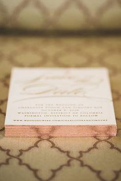 Rose gold edging for wedding invitation Original Wedding Invitations, Simple Wedding Invitations, Wedding Stationary, Wedding Paper, Our Wedding, Dream Wedding, Gold Invitations, Save The Date Invitations, Invites