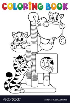 Coloring book cat theme 1 vector image on VectorStock