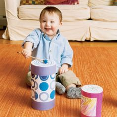 Homemade Drum for Toddlers - Upcycle old oatmeal containers to create drums for your music section in your classroom.