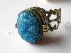Locket Ring, Poison Ring, Stained Glass Ring, Druzy