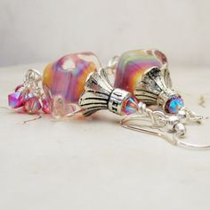 Lampwork Earrings Silver Beaded Jewelry by StoneDesignsbySheila, $30.00