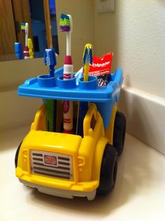 Repurpose kids plastic toys into fun hygiene stations! Bathroom Kids, Kids Bath, Lego Bathroom, Oak Bathroom, Childrens Bathroom, Upstairs Bathrooms, Best Bath, Bath Toys, Boy Room
