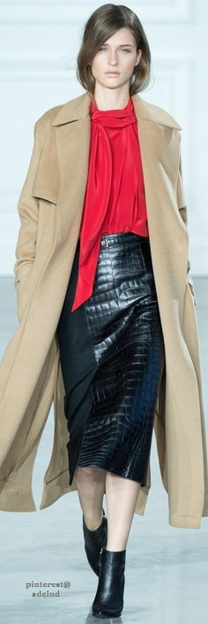 Jason Wu F-15: camel coat, red bow blouse, crocodile skirt, booties.