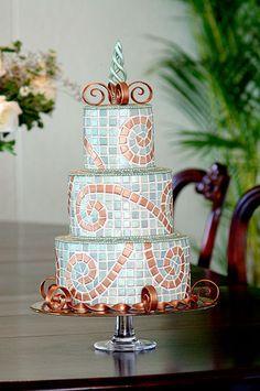 Mosaic wedding or celebration  cake. Beautiful artwork!
