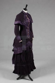 A dark purple wool and moiré silk mourning ensemble, Arthur Chambers 7 Co., circa 1880-85.