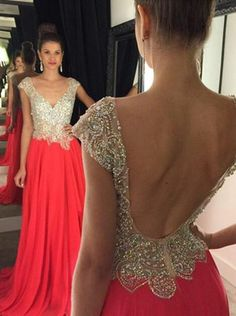 A-line V-neck Cap Sleeve Prom Dress Beaded Bodice Chiffon Long Formal Dress APD1687 sold by DiyDresses. Shop more products from DiyDresses on Storenvy, the home of independent small businesses all over the world.