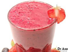 This berry protein smoothie recipe is high in protein, healthy fats and carbs to replenish your body's stores or get you ready for the day!