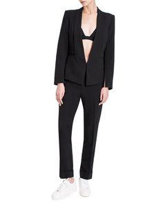 Straight Lapel Blazer With Zip Sleeves Work Wardrobe, Welt Pocket, Normcore, Blazer, Sleeves, Jackets, Fashion, Down Jackets, Moda