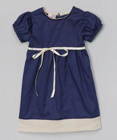 Love this Navy & Beige Babydoll Dress - Toddler & Girls by Anna Bouché on #zulily! #zulilyfinds