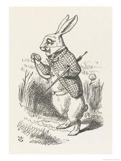 The White Rabbit Checks His Watch Giclee Print