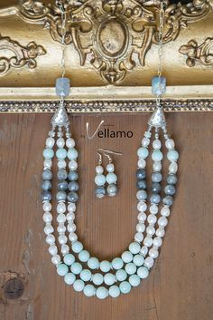 Rich statement bib necklace with amazonite by byVellamo on Etsy