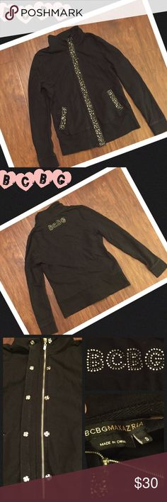 Bcbg MAXAZRIA size small black jacket Made by BCBG MAXAZRIA this is a size small black jacket. Has a ton of bling up down and all around. Double closure includes snaps and zipper. Has front pockets for hands. Back says BCBG. No flaws found. BCBGMaxAzria Jackets & Coats