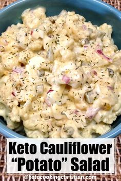 Cauliflower Potato Salad - Keto and Low Carb An easy and healthy Low Carb mock potato salad, this cauliflower has all the flavors of traditional potato salad minus all the carbs! Mayo, eggs, dill and pickles give this Keto friendly side lots of flavor! Cauliflower Potatoes, Keto Cauliflower, Low Carb Potatoes, Low Carb Recipes, Healthy Recipes, Low Carb Summer Recipes, Healthy Low Calorie Meals, Low Carb Diet, Lunch Recipes