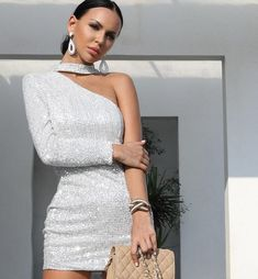 Sexy One Shoulder Shimmering Sequin Party Dress Evening Dresses, Formal Dresses, Sequin Party Dress, Silver Dress, One Shoulder, Sequins, Lady, Womens Fashion, Gender