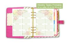 Weekly Tasks Printable planner insert. Perfect for filofax and any A5 planner.