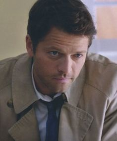 """Castiel. look at that devilish smirk <3<---I don't think """"Devilish"""" is the right term in this context."""