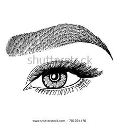 Illustration with woman's eye and eyebrow. Makeup Look. Tattoo design.