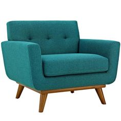 MODWAY Engage Upholstered Armchair in Teal EEI-1178-TEA - The Home Depot Fabric Armchairs, Chair Fabric, Chair Cushions, White Accent Chair, Small Accent Chairs, Mid Century Modern Fabric, Upholstered Arm Chair, Teal Armchair, Club Chairs