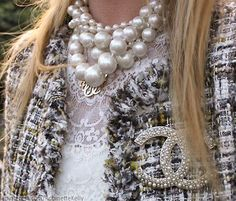 All things CHANEL - Pearls, Tweed Jacket, brooch, Classic Double C, Off White & Black.  #asp71413