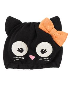 Top off her playful Halloween look with a soft sweater hat featuring a cute kitty face. 100% cotton. Features appliqus, 3-D ears and embroidery. Spot clean; imported. Collection Name: Stylish Corgi.