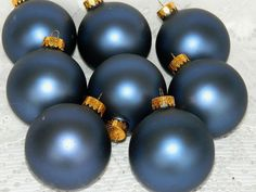 Set of 8 Glass Christmas Tree Ball Ornaments Rich Navy Blue Gold Crowns Matte